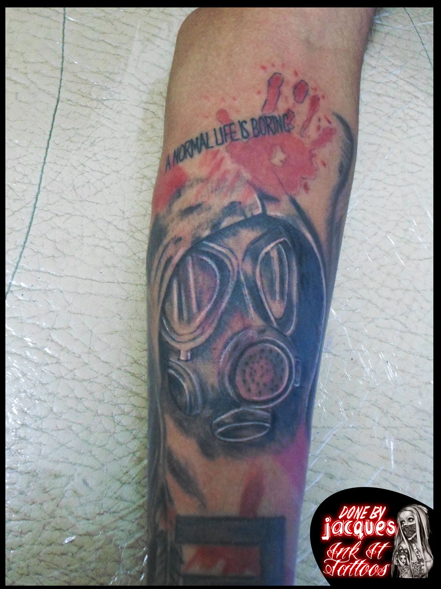 Trash Polka Gas Mask done by Jacques Jooste at Ink It Tattoos Durban